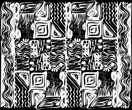 African tribal aborigines ornament. Vector illustration. Black and white. Jagged sloppy contours
