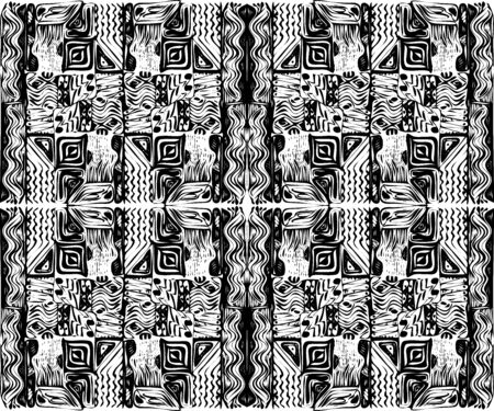 African tribal aborigines ornament. Geometric patterns. Vector illustration. Black and white. Jagged sloppy contours. Seamless pattern