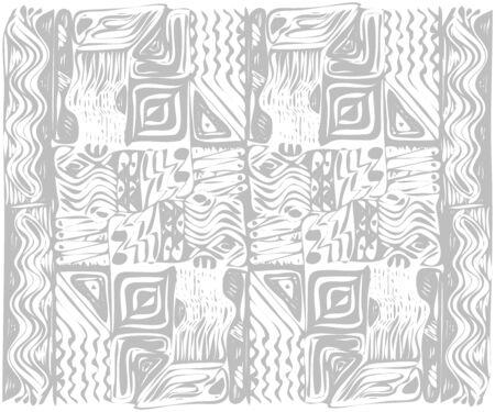 African tribal aborigines ornament. Geometric patterns. Vector illustration. Gray and white. Jagged sloppy contours Vektoros illusztráció