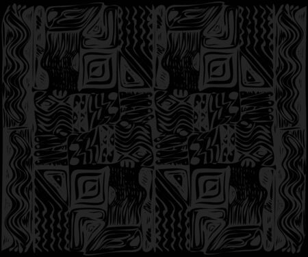 African tribal aborigines ornament. Geometric patterns. Vector illustration. Gray and black. Jagged sloppy contours