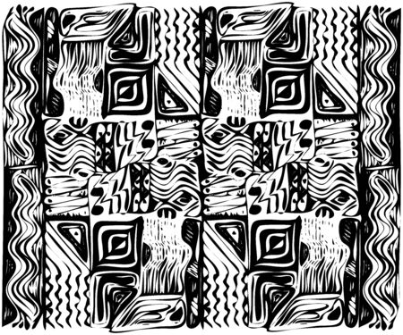 African tribal aborigines ornament. Geometric patterns. Vector illustration. Black and white. Jagged sloppy contours