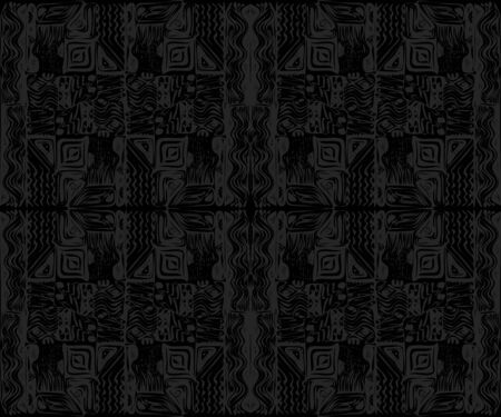 African tribal aborigines ornament. Geometric patterns. Vector illustration. Gray and black. Jagged sloppy contours. Seamless pattern