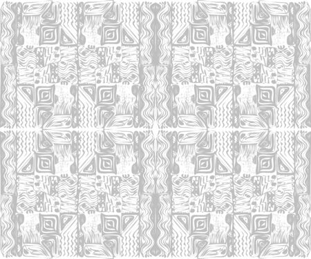 African tribal aborigines ornament. Geometric patterns. Vector illustration. Gray and white. Jagged sloppy contours. Seamless pattern  イラスト・ベクター素材