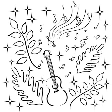 Musical hobby - music, playing a musical instrument, Hawaiian guitar, ukulele. Notes, plants, stars. Linear black and white graphics.