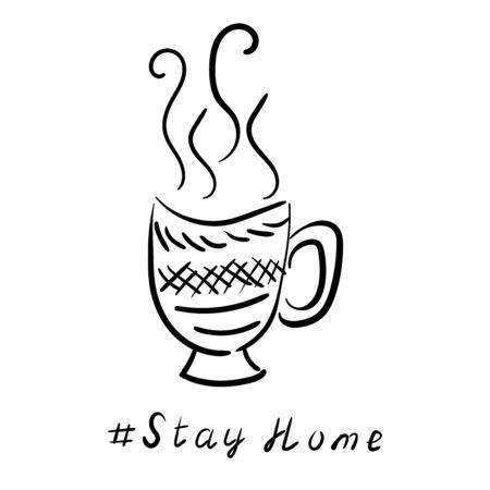 A cup of tea, coffee and plant branches. Vector linear sketch illustration. Coronavirus poster design. Stay home Vektoros illusztráció
