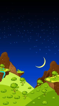 Landscape, mountains and canyon, rocks, meadows, plants. Night time, sky, stars, moon. Vector Illustration of a cartoon summer or spring season country landscape. Vertical layout.