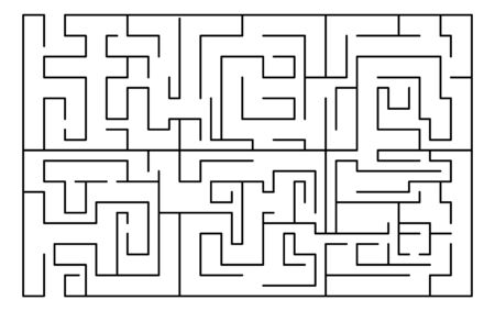 Labyrinth, maze rectangular shape. Education, logic game, puzzle. Vector illustration isolated on white background Ilustración de vector