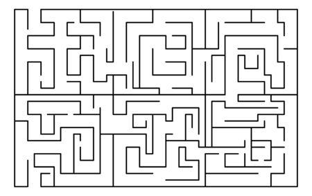 Labyrinth, maze rectangular shape. Education, logic game, puzzle. Vector illustration isolated on white background Vektorové ilustrace