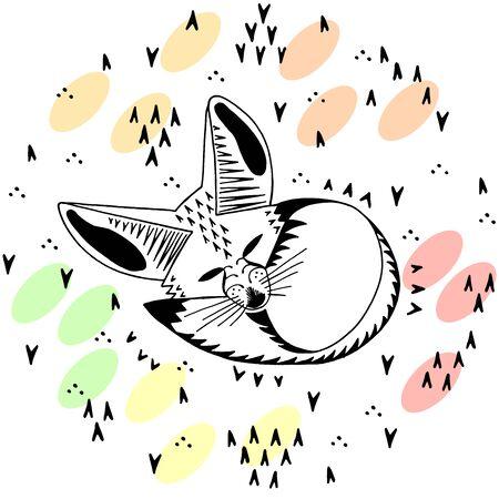 Fennec fox. Linear illustration. Cute kids cartoon style.