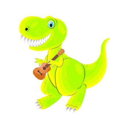 Dinosaur Playing Ukulele. Isolated on white. Vector illustration, flat style