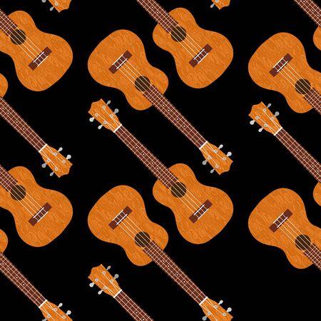 Ukulele Hawaiian guitar. From brown wood. Realistic vector illustration. Seamless pattern. Black background