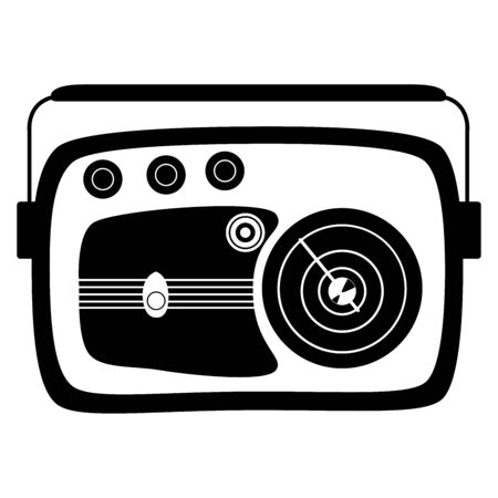 Radio model retro. Black and white vector illustration. Isolated on white