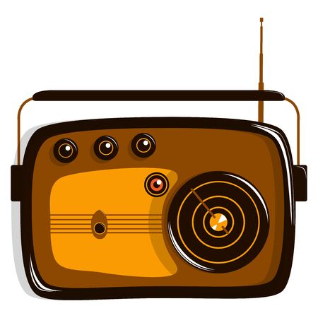 Radio model retro. Flat vector illustration. Isolated on white