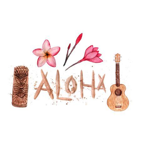 Hawaiian simbols - Luau, Aloha, Tiki, Ukulele, Plumeria Watercolor illustration Isolated on white
