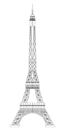 Eiffel Tower isolated on white background. Real scale image Vectores
