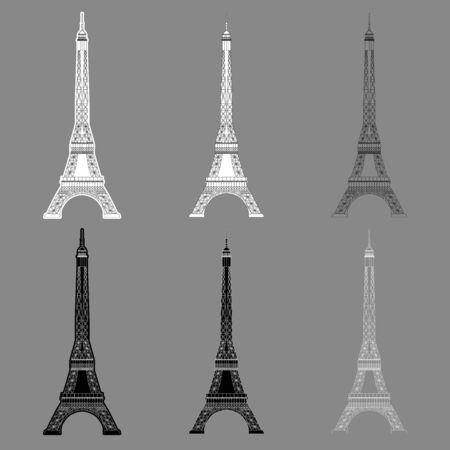 Set Eiffel Tower isolated on gray background. Real scale image Vectores