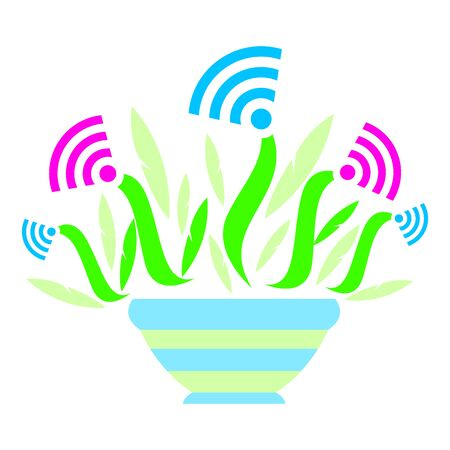 Sign wifi in the form of a plant in a pot. For a poster in a guest room, shop, hotel, relaxation area.