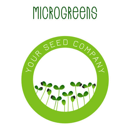 Microgreens Sunflower. Seed packaging design, round element in the center