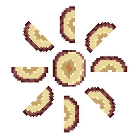 Prunus. Stone fruits slice isolated on white