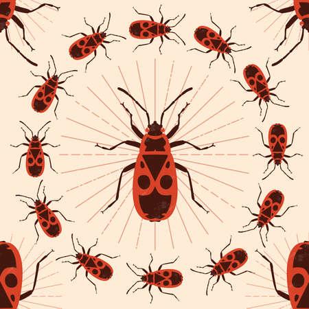 Firebug. Vector illustration. Seamless pattern