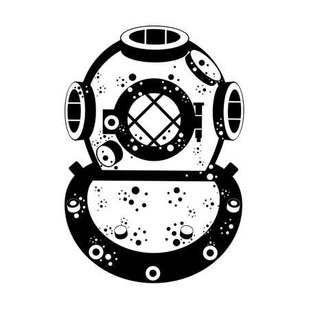 Retro diving helmet isolated on white.
