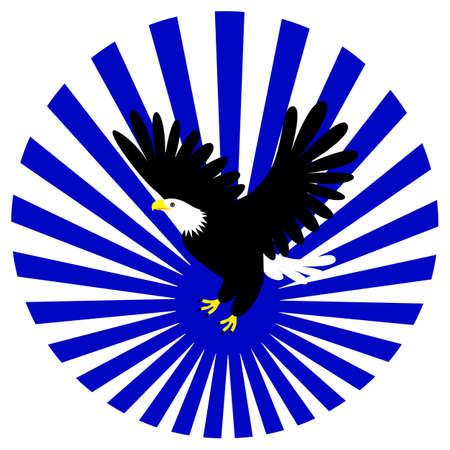 Eagle icon template. Flying eagle on rays. Illusztráció