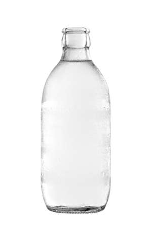 Glass bottle of soda water, isolated on white background