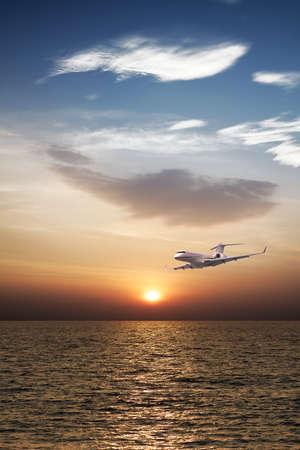 Private jet plane in flight