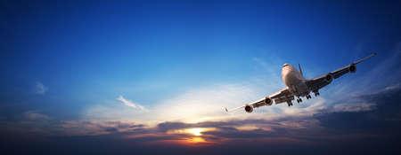 Jet cruising in a sunset sky. Panoramic image. Standard-Bild