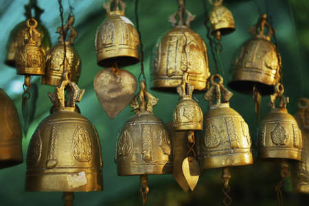 Buddhist bells. Shallow depth of field.