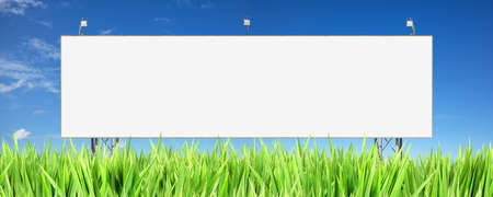 advertise: Large blank advertisement board. Panoramic composition.
