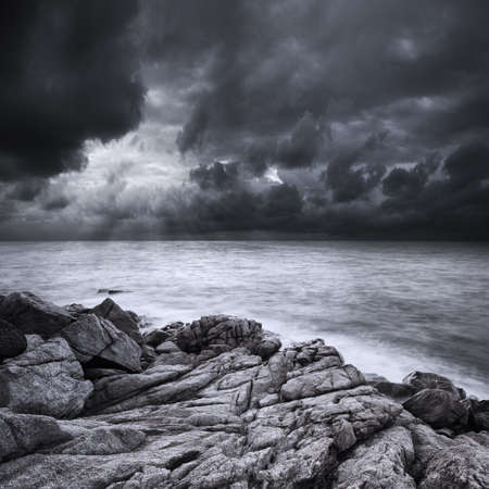stormy sea: After the storm. Long exposure shot.
