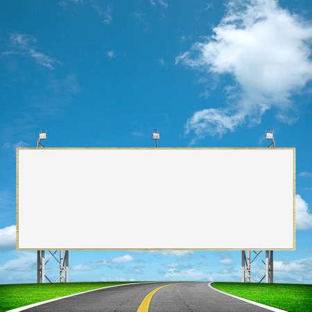 高速道路とブランクの看板 写真素材