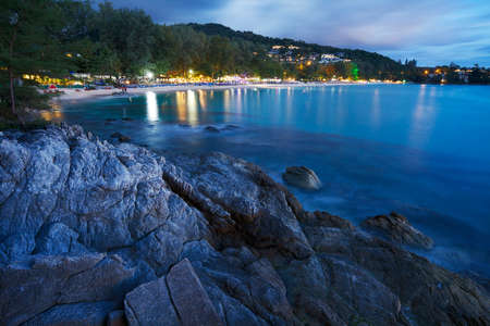 surin: View of Surin beach at night. Phuket island, Thailand. Long exposure ( 1 minute ) shot, taken with ISO 100.  Medium level of noise, color noise removed without loss of details and sharpness.  Stock Photo