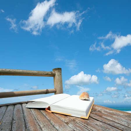 本、シーシェル ビーチで竹の椅子の上。正方形の組成物。