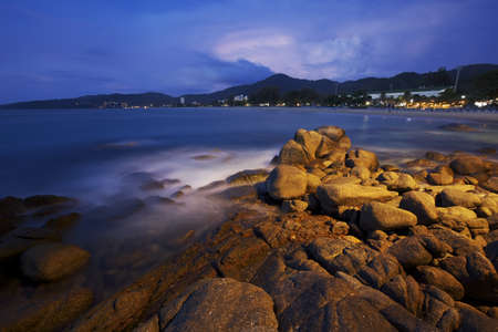 View of Karon beach at dawn. Phuket island, Thailand. Long exposure ( 2 minutes ) shot. photo