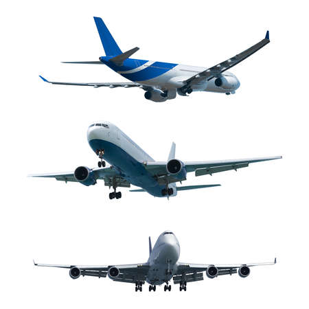 Set of a jet airplanes, isolated on white background Banco de Imagens