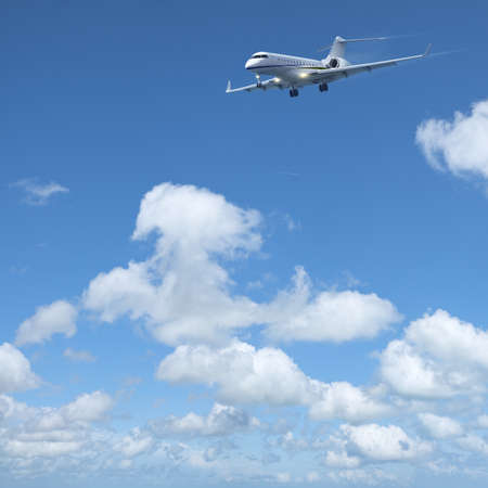 Luxury private jet is maneuvering for landing in a clear blue sky. Square composition in high resolution.