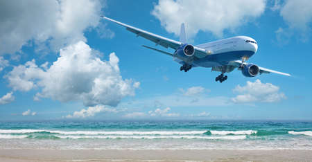 Jet plane over the beach. Vacation concept. Panoramic composition. photo