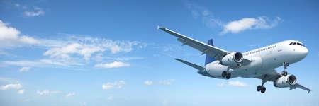 青い空にジェット機。パノラマの組成物。 写真素材