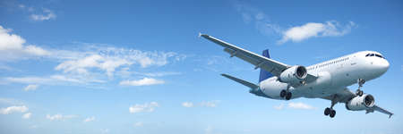 Jet aircraft in a blue sky. Panoramic composition.