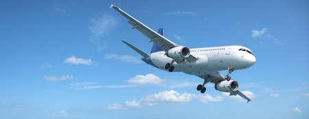 Jet vliegtuig in een hemel. Panoramisch samenstelling.