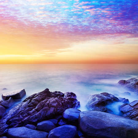 Rainbow Prime planet fantasy seascape. Square composition.