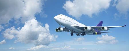jumbo: Jumbo jet is maneuvering for landing. Panoramic composition.