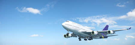 Jumbo jet aircraft is maneuvering in a blue sky. Panoramic composition.