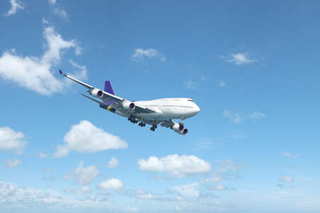 airplane landing: Jumbo jet in flight. In high resoluton ( no interpolation used ) Stock Photo