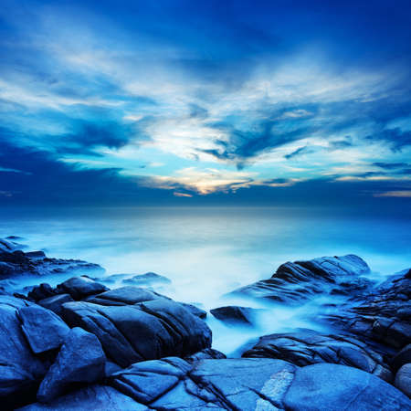 Alien sea at dawn. Long exposure shot. Square composition.