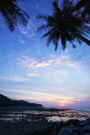 Vertical shot of Nai Yang beach at dusk. Phuket island, Thailand. photo