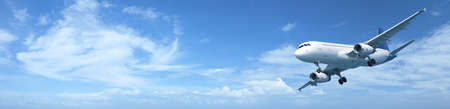 Panoramic composition of a jet aircraft in a blue sky Standard-Bild
