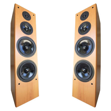 sub woofer: Acoustic stereo 3-way system, isolated on white. Square composition. Stock Photo